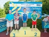 The winners of the 7-8 Boys Breast Stroke, with Norman Griffin. ©Rory Geary/The Northern Standard