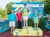 The winners of the 9-10 Boys Front Crawl, with Norman Griffin. ©Rory Geary/The Northern Standard