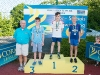 The winners of the 9-10 Boys Breast Stroke, with Norman Griffin. ©Rory Geary/The Northern Standard