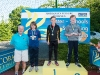 The winners of the 11-12 Boys Front Crawl, with Norman Griffin. ©Rory Geary/The Northern Standard