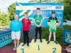 The winners of the 11-12 Boys Breast Stroke, with Norman Griffin. ©Rory Geary/The Northern Standard