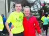 Conor Duffy, with Peter McKenna, before the start of the Glaslough Harriers Jolly Joggers Run on New Years Day. ©Rory Geary/The Northern Standard