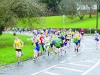 Conor Duffy, left, leading the Glaslough Harriers Jolly Joggers Run on New Years Day from early in the event. ©Rory Geary/The Northern Standard