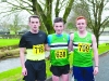 The winners in the Mens 6k at the finish line were (L-R) Kevin McKenna, 2nd, Conor Maguire, Monaghan Phoenix AC, 1st and Oisin Fagan, Monaghan Phoenix AC, 3rd. ©Rory Geary/The Northern Standard