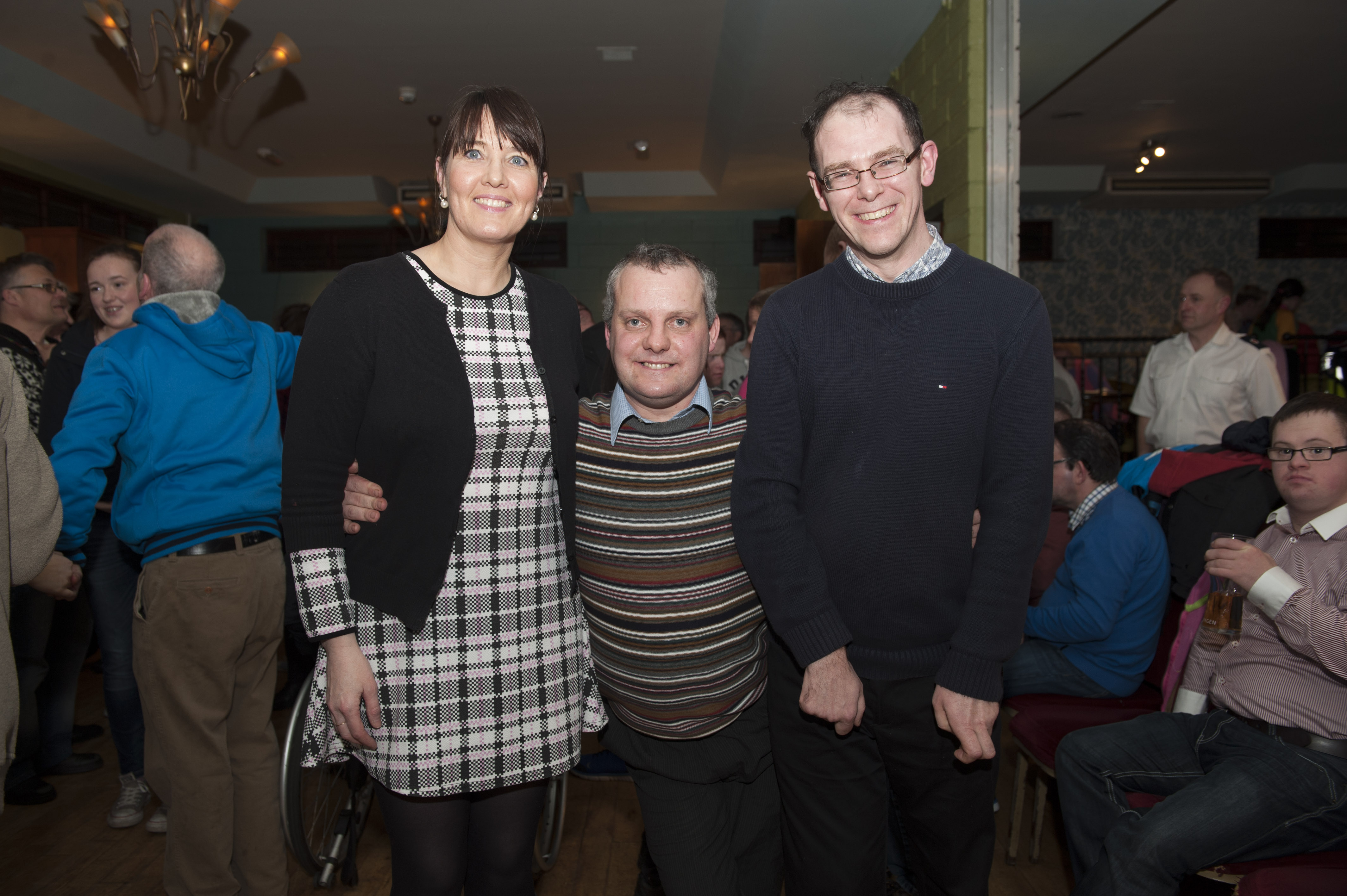 Nigel McClave, centre, who celebrated hs birthday at the Monaghan Arch Club Party, last week, with Darina Maloney-Moffett and Brendan Haughey, at the party. ©Rory Geary/The Northern Standard