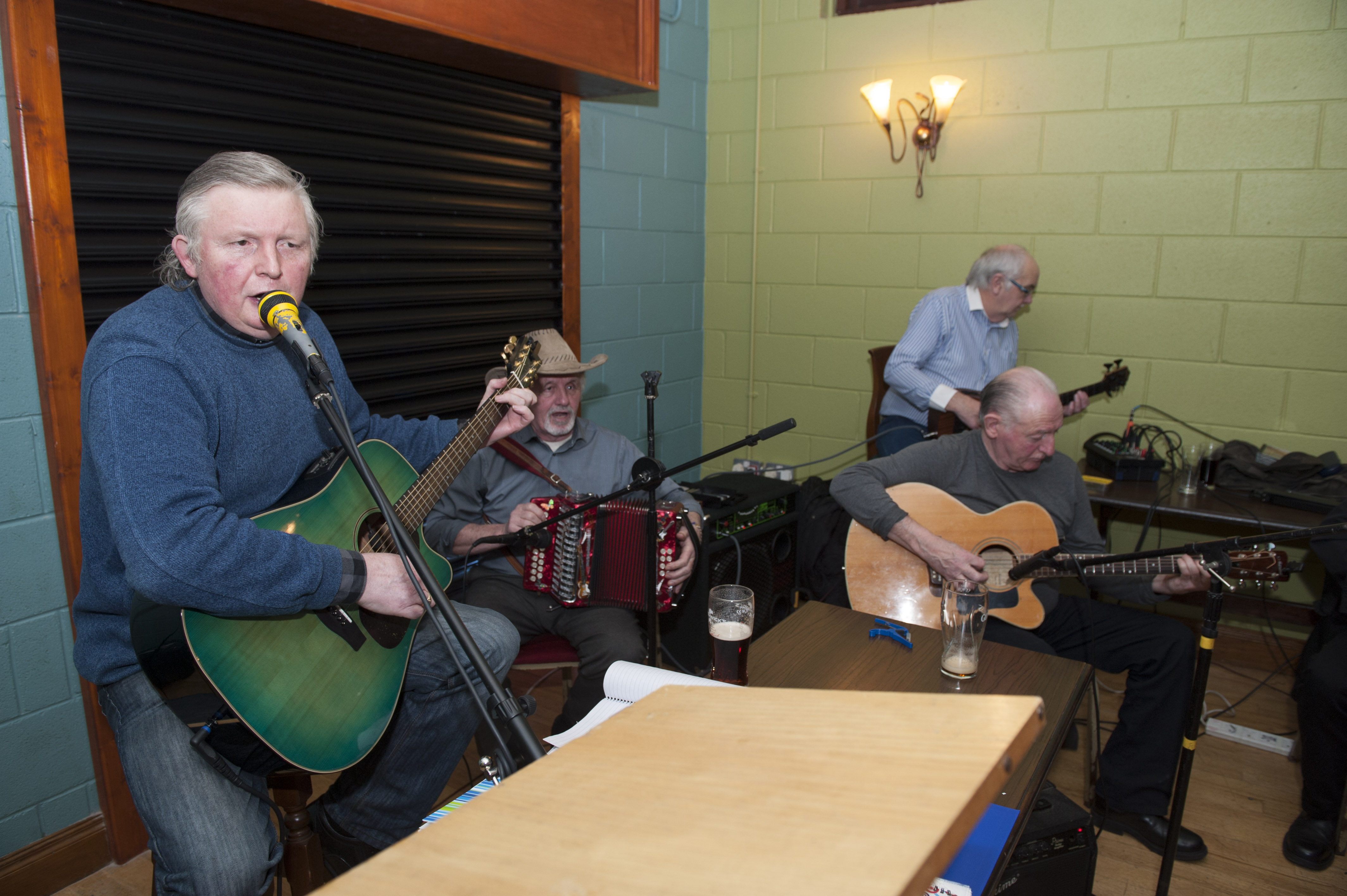 Packie McDonald, Tom Connolly, Anthony Ballintine and John McKenna, who were some of the band that provided the music for the Monaghan Arch Club Party. Missing from photo is Des Murphy. ©Rory Geary/The Northern Standard