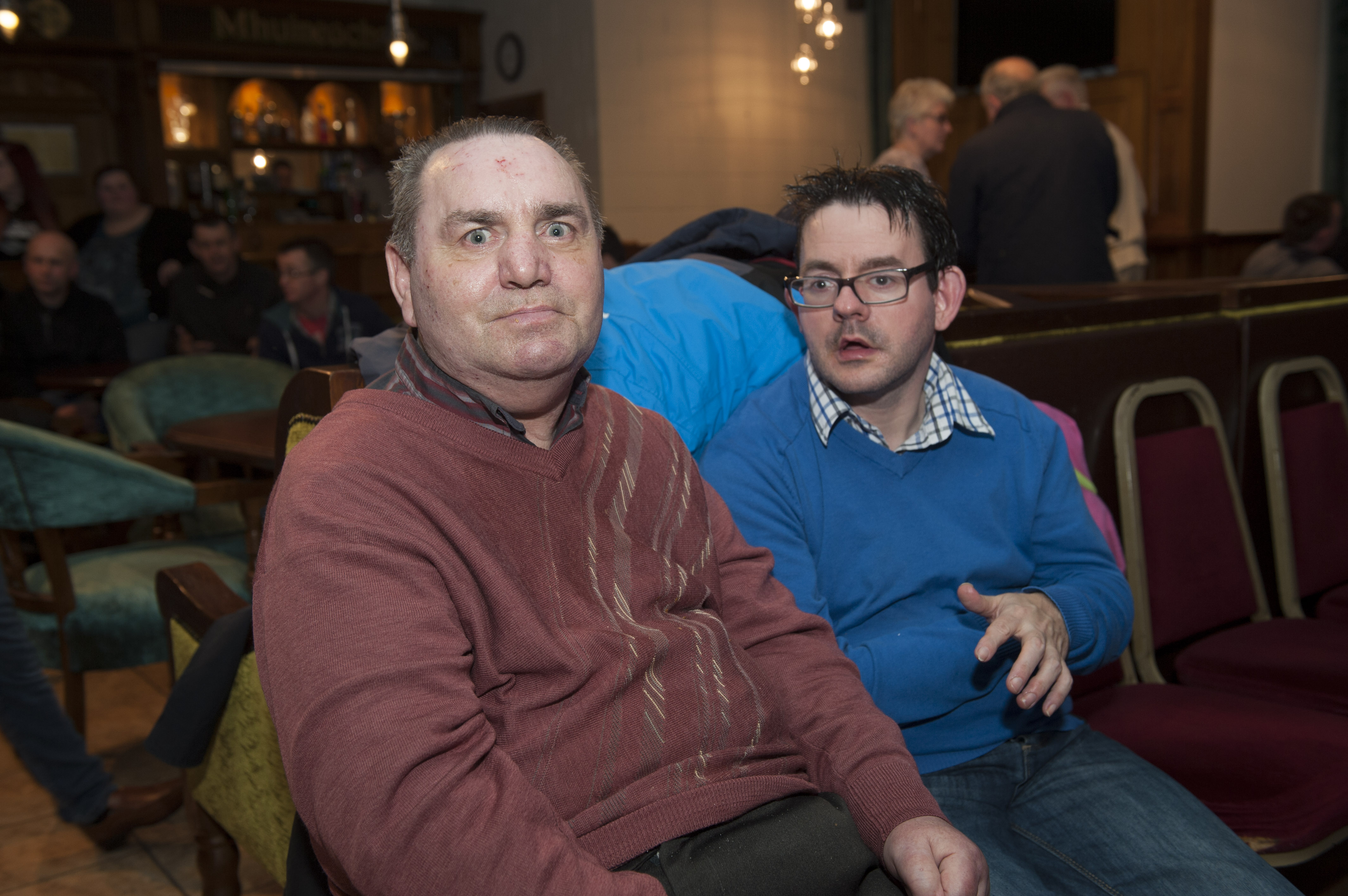 Larry Kangley and William Smith from Iona House, at the Monaghan Arch Club Party. ©Rory Geary/The Northern Standard