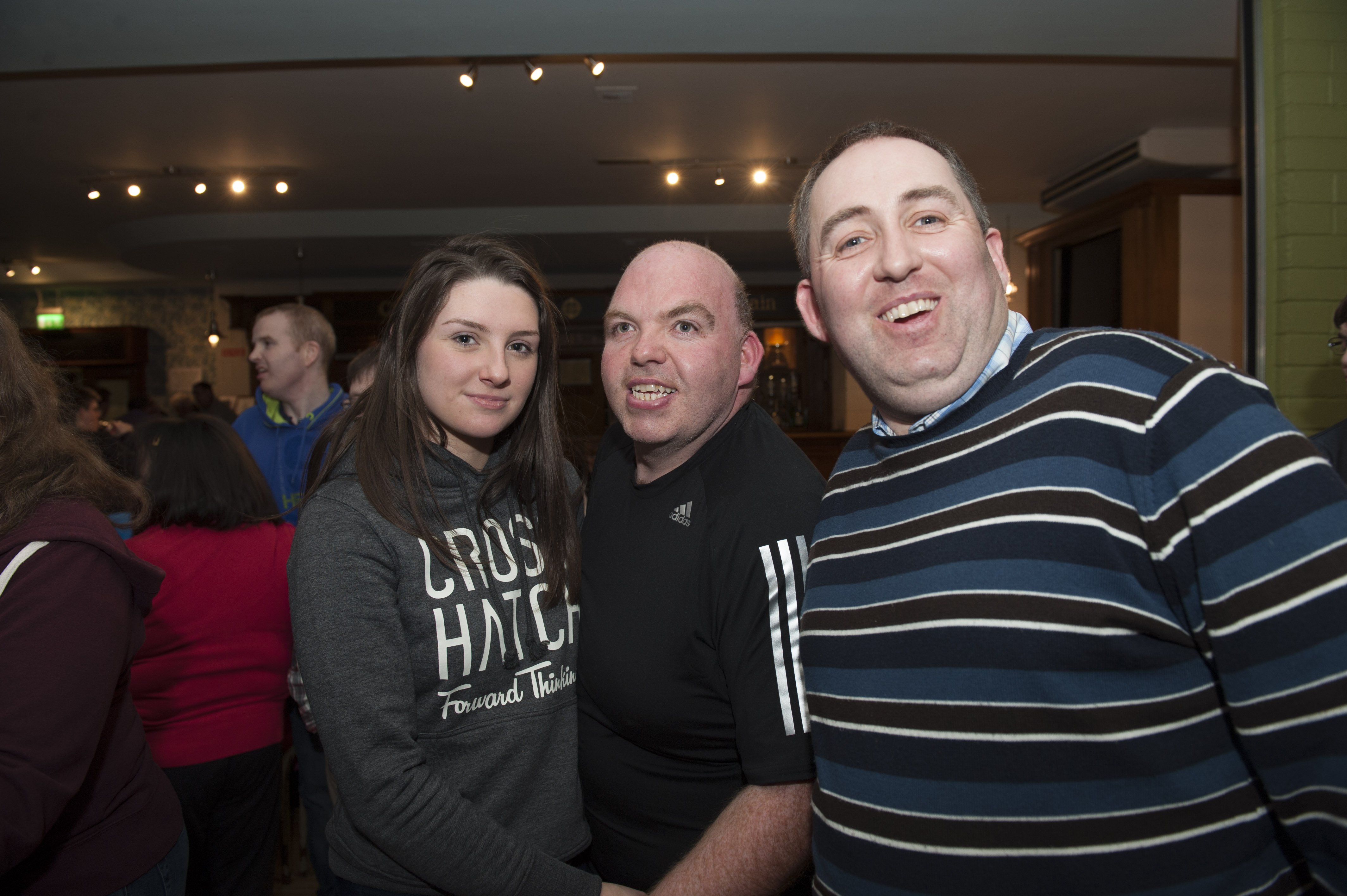 Anna Clarke with Kevin Owens and Ian Hollinger at the Monaghan Arch Club Party. ©Rory Geary/The Northern Standard