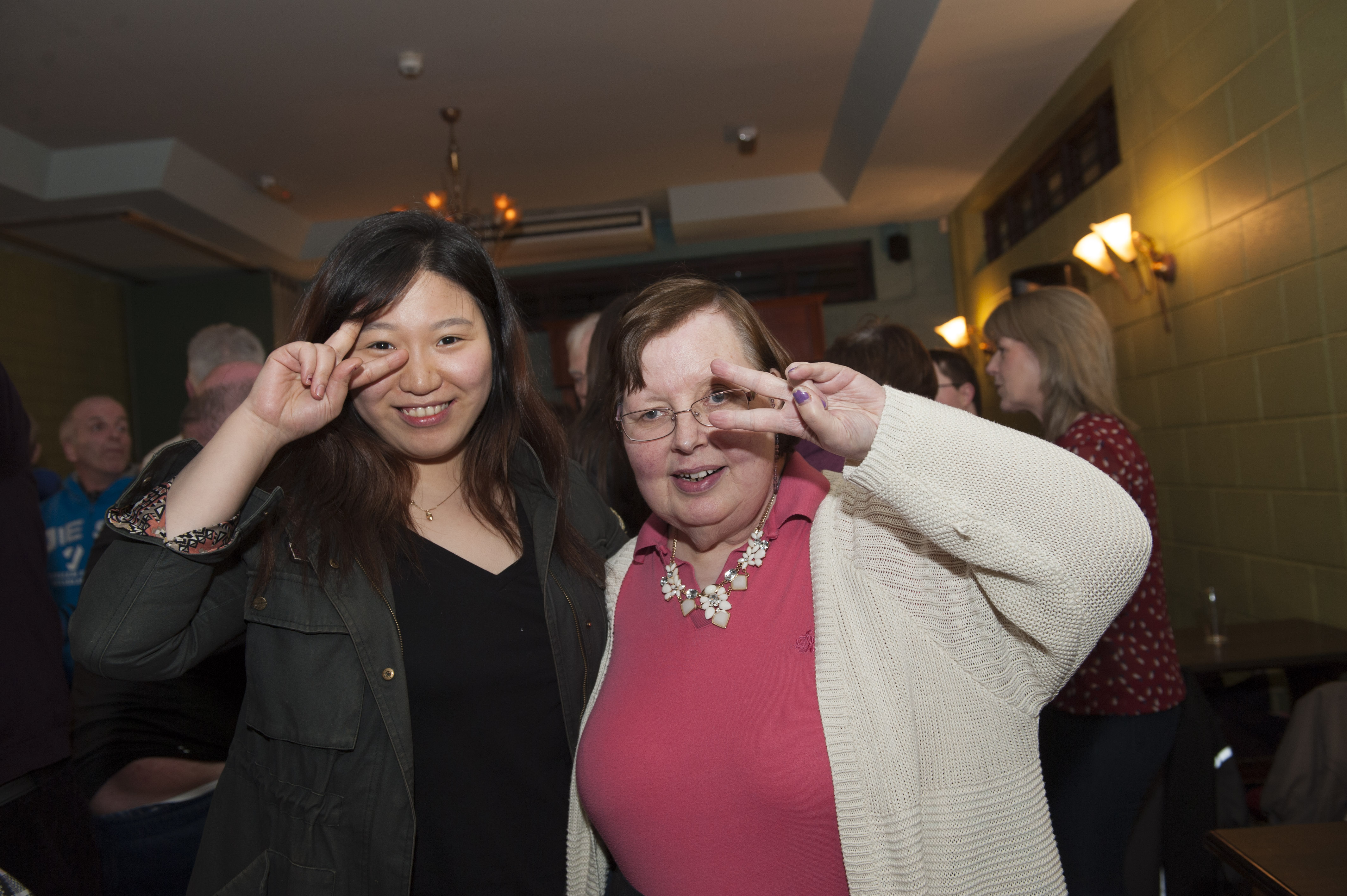 Judie, left, with Lizzie Fauklner from the Camphill Community at the Monaghan Arch Club Party. ©Rory Geary/The Northern Standard