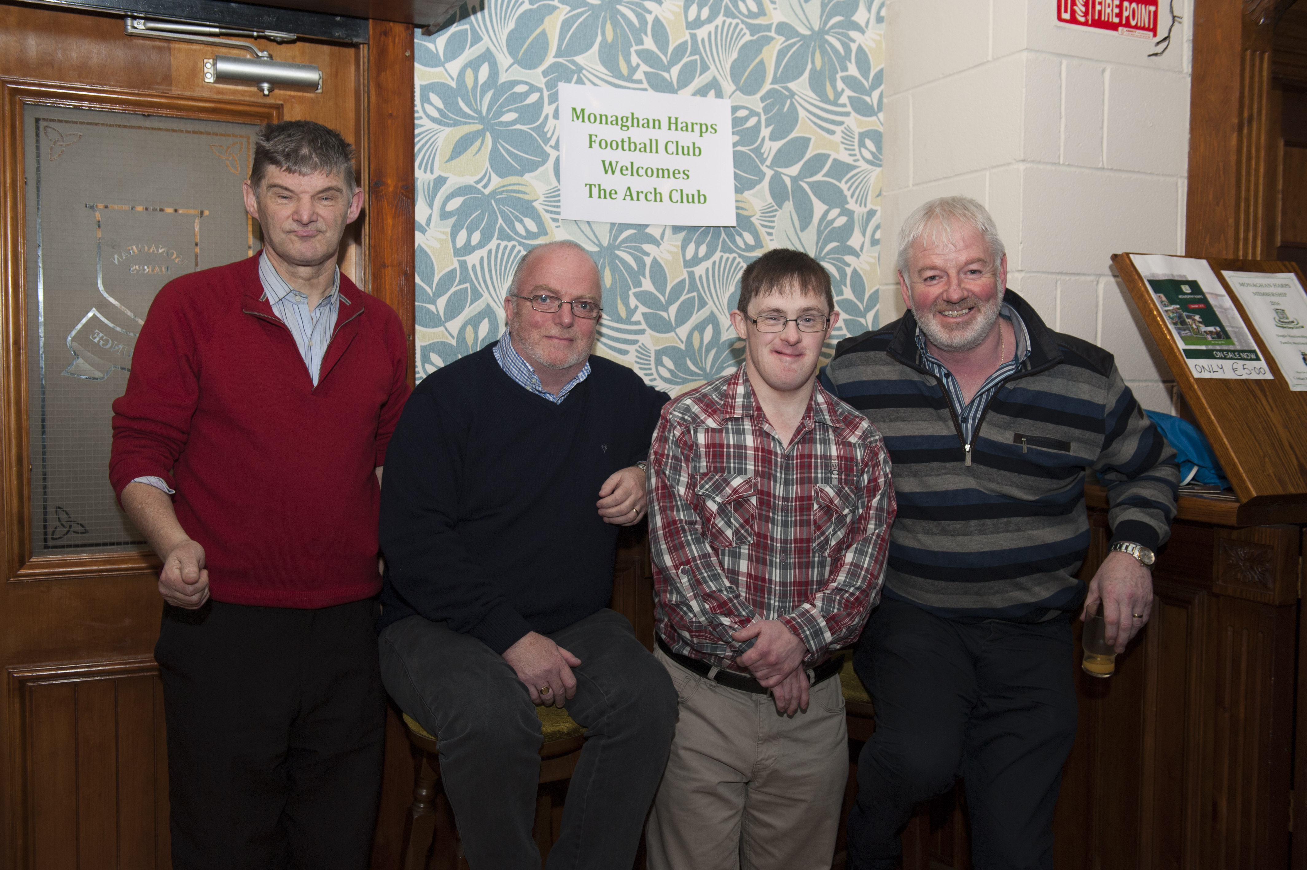 Pictured at the Monaghan Arch Club Party in the Monaghan Harps GFC were (L-R) Hugh Coyle, Sean McKenna, Chairman, Monaghan Harps GFC, Mark McCabe and Owen Connell. ©Rory Geary/The Northern Standard