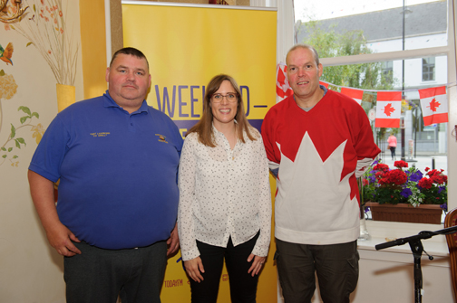 Alison Curtis, centre, Today FM, with Richard McKenna, left and Greg Fitzpatrick, when she spoke with them on her show, when it was broadcast from The Westenra Hotel. ©Rory Geary/The Northern Standard