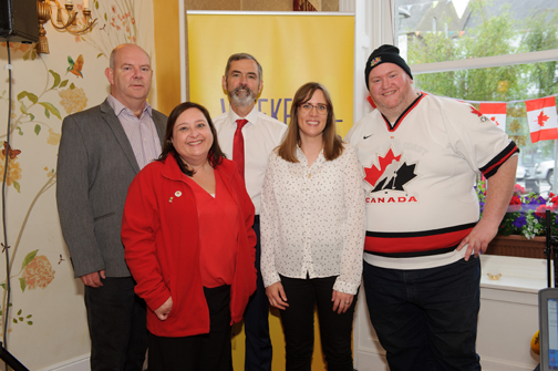 Today FM presenter Alison Curtis, who is from Canada, when her show was broadcast from The Westenra Hotel, last Saturday. In photo are (L-R) John Murray, Monaghan County Council, Bláithín O'Donnell, Air Canada, Cllr Sean Conlon, Alison Curtis and Brian Clerkin. ©Rory Geary/The Northern Standard
