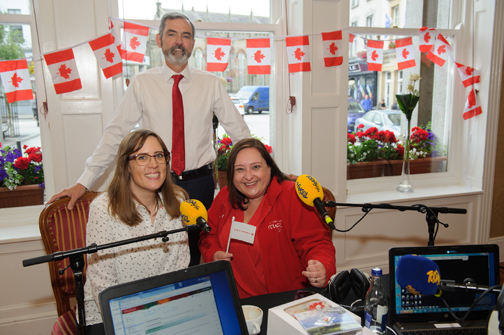 Alison Curtis, left, Today FM, during her broadcast from The Westenra Hotel with Cllr Sean Conlon, chairman of the Monaghan Canada Day committee and Bláithín O'Donnell, Air Canada. ©Rory Geary/The Northern Standard