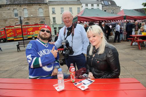At the Monaghan Canada Day celebrations were (L-R) Wayne Barrett from Vancouver, Peadar McMahon and Grainne McCarten. ©Rory Geary/The Northern Standard