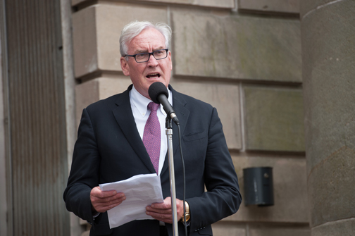 Canadian Ambassador to Ireland Kevin Vickers speaking at the Monaghan Canada Day celebrations, which were held last Saturday in Monaghan Town. ©Rory Geary/The Northern Standard