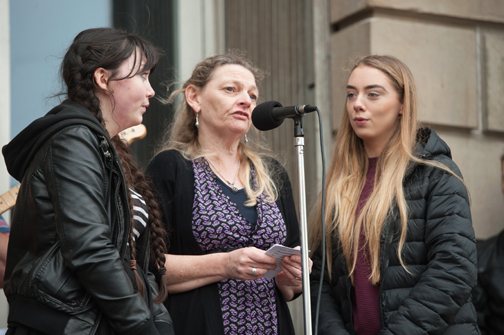 Aoibhín NÍ Ghabhann, Dara MacGabhann and Caitriona Sherlock from the MOPOSOG's group singing at the Monaghan Canada Day celebrations. ©Rory Geary/The Northern Standard