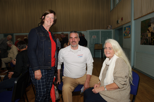 At the talk by Enda Galligan at St Patrick's Hall were Geraldine Shannon, Kevin Costain from Toronto and Angela Daly. ©Rory Geary/The Northern Standard