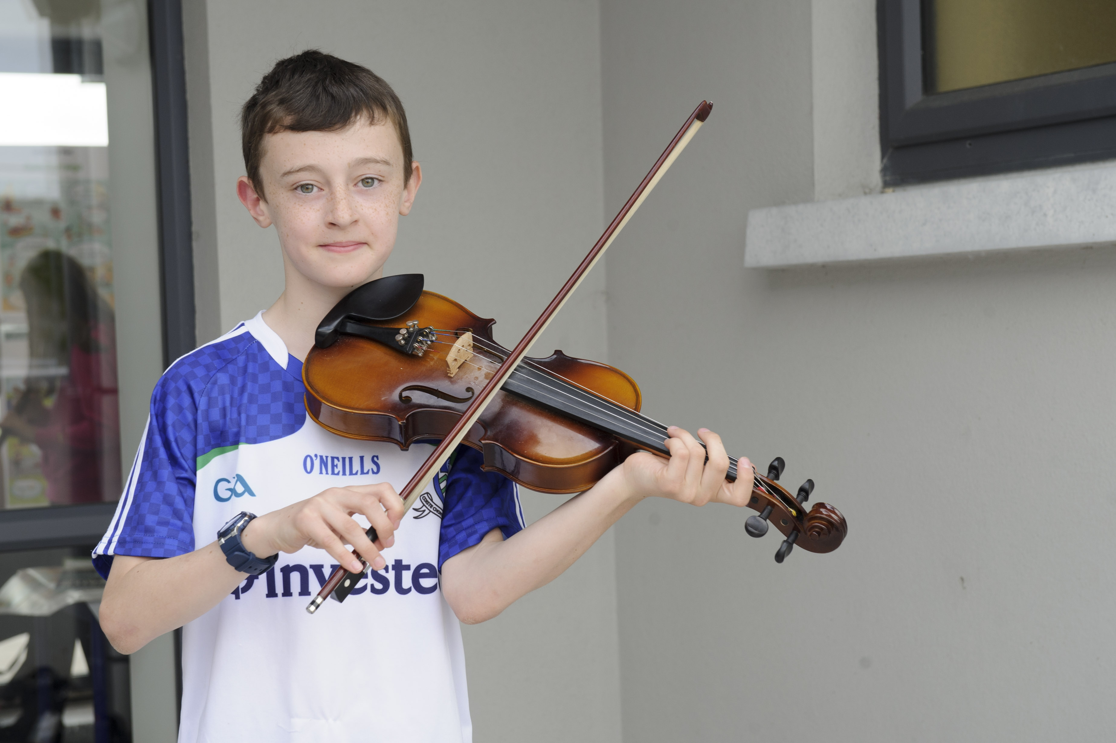 Daniel Sheridan, Baile Mhuineacháin CCE, who was runner-up in the U-12 Fiddle. ©Rory Geary/The Northern Standard