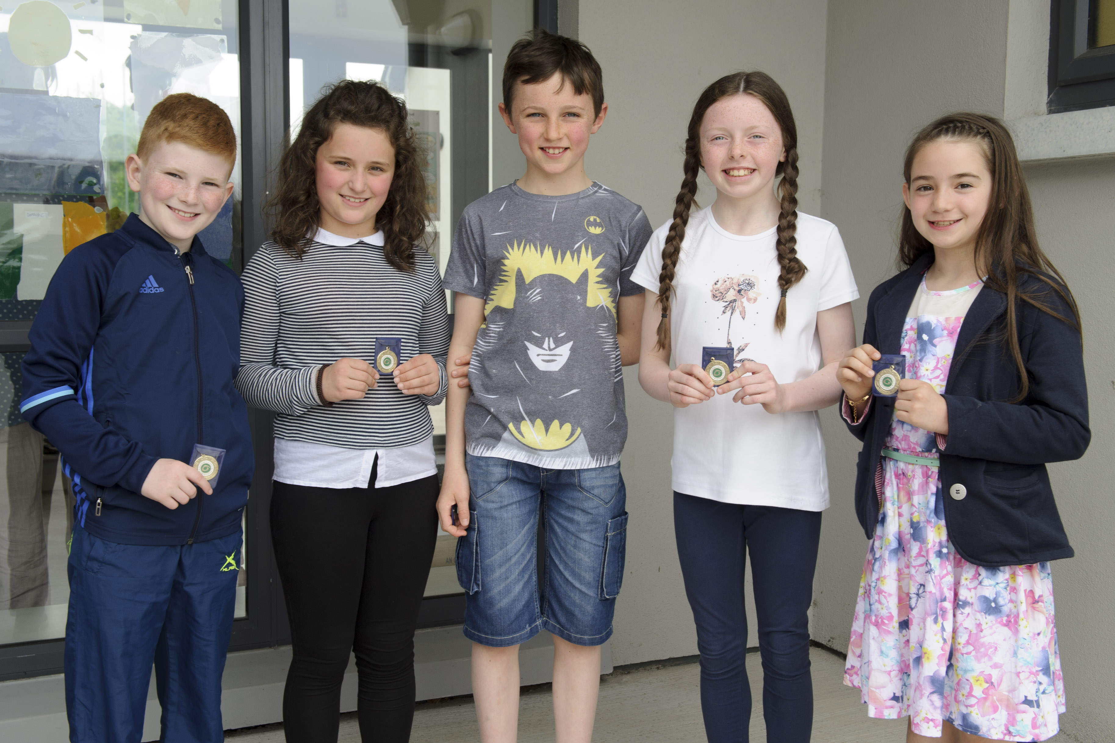 The competitors who were put through for the Comhra na nGaelige at U-11 were (L-R) Patrick O'Corrigan, Alice Treanor, Ethan McCarron, Katie Carroll and Amy Nic Dónaill. ©Rory Geary/The Northern Standard