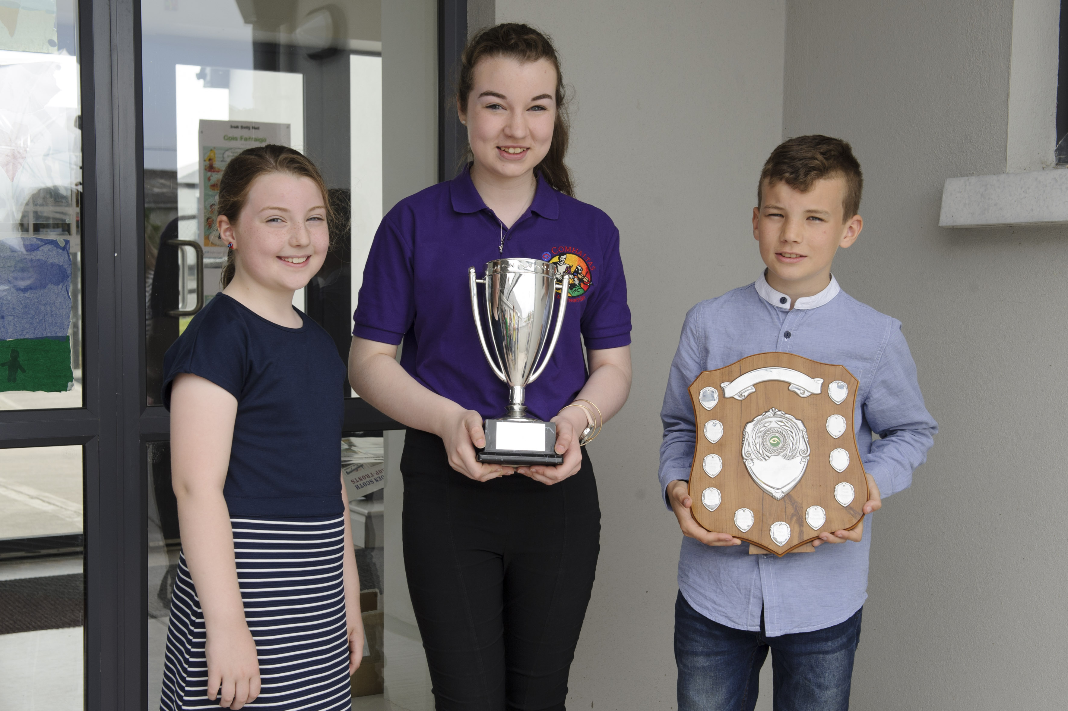 Pictured are Ciara, Aisling and Dairmuid O'Riordan, who all received awards. Ciara won the U-9 Comhra na nGaelige, Aisling, won the U-15 Flute Dance Tune and Slow Air and Dairmuid won the U-12 Accompaniment. ©Rory Geary/The Northern Standard