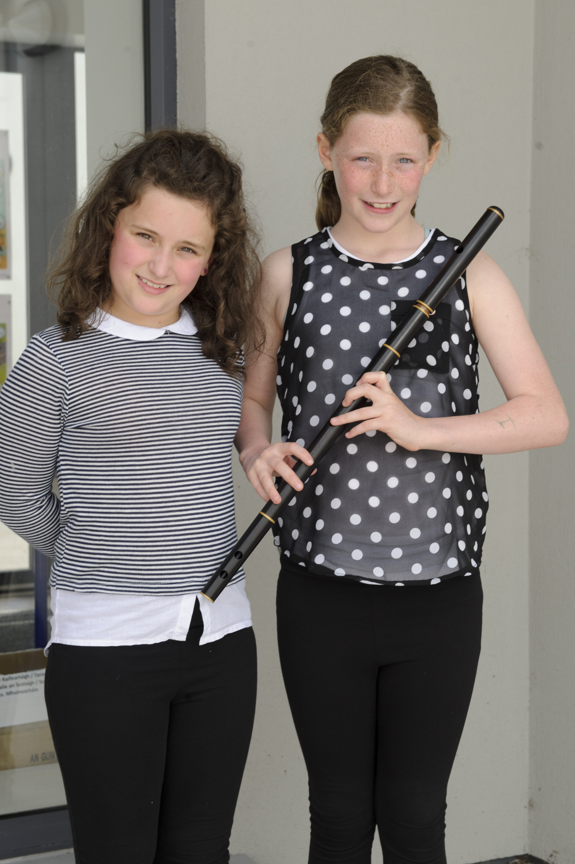 Alice Treanor, who was sent through to Ulster in the Comhra na nGaelige and Katie Treanor, Baile Mhuineacháin CCE, who was 3rd in the U-12 Flute. ©Rory Geary/The Northern Standard