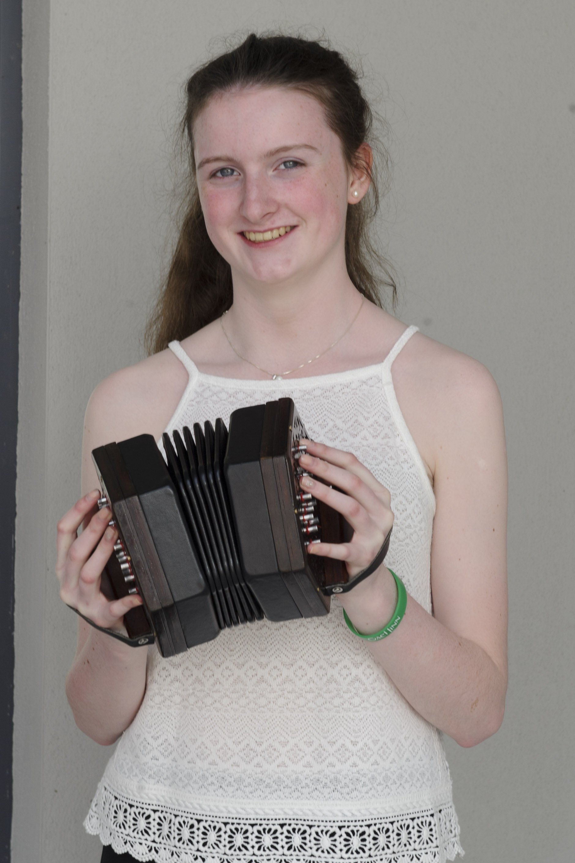 Muireann Harraghey from Éamonn Ó Muiri CCE, who was winner of the U-15 Harp Slow Air & Harp, 3rd in the Concertina and 2nd in the Duet along with Aoife McCague. ©Rory Geary/The Northern Standard