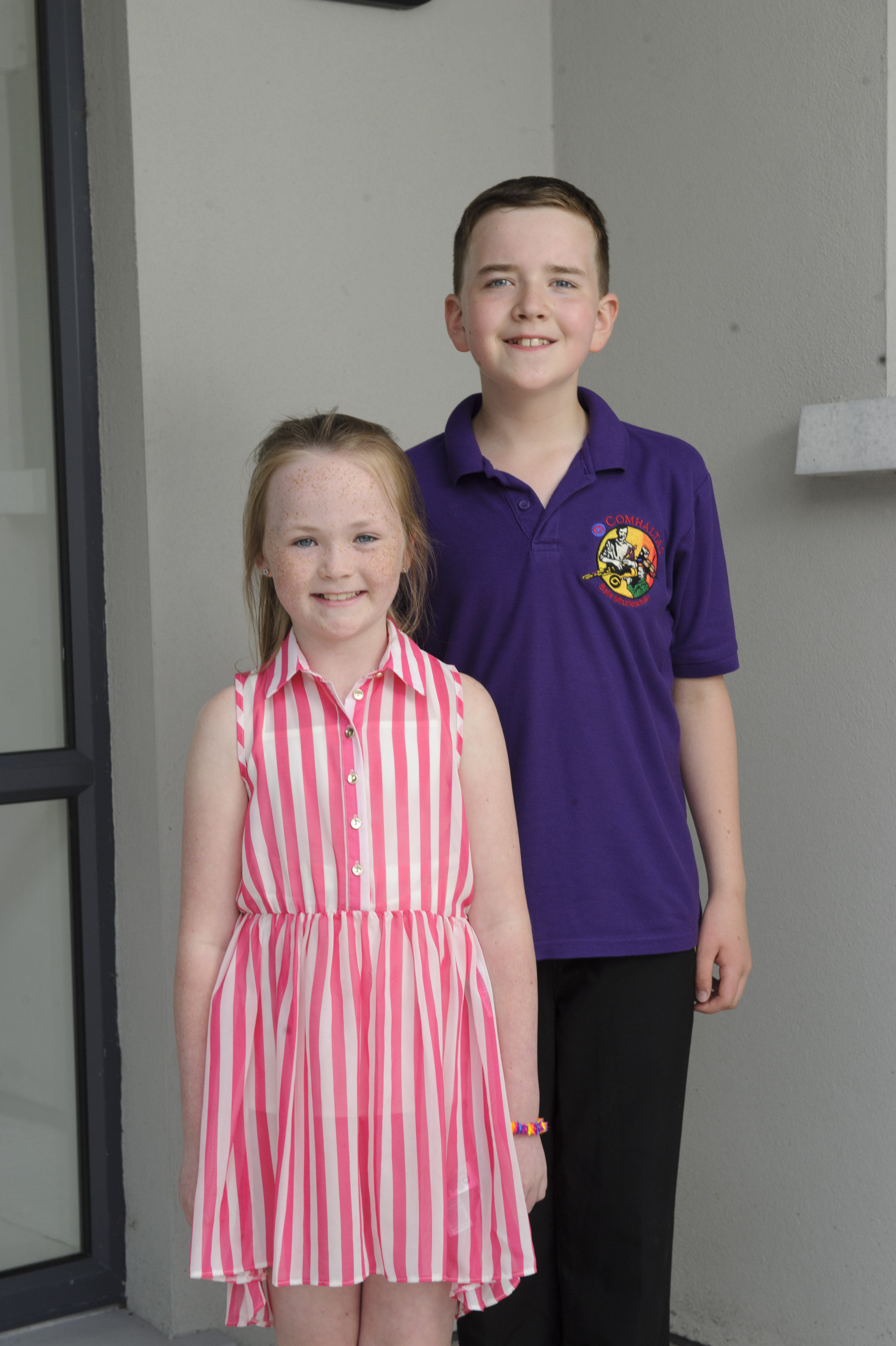 Lucy O'Brien, U-9 Comhrá Gaelige, and Eoin McCleary, U-13 Comhrá Gaelige, from Baile Mhuineacháin CCE, who are both through to Ulster. ©Rory Geary/The Northern Standard