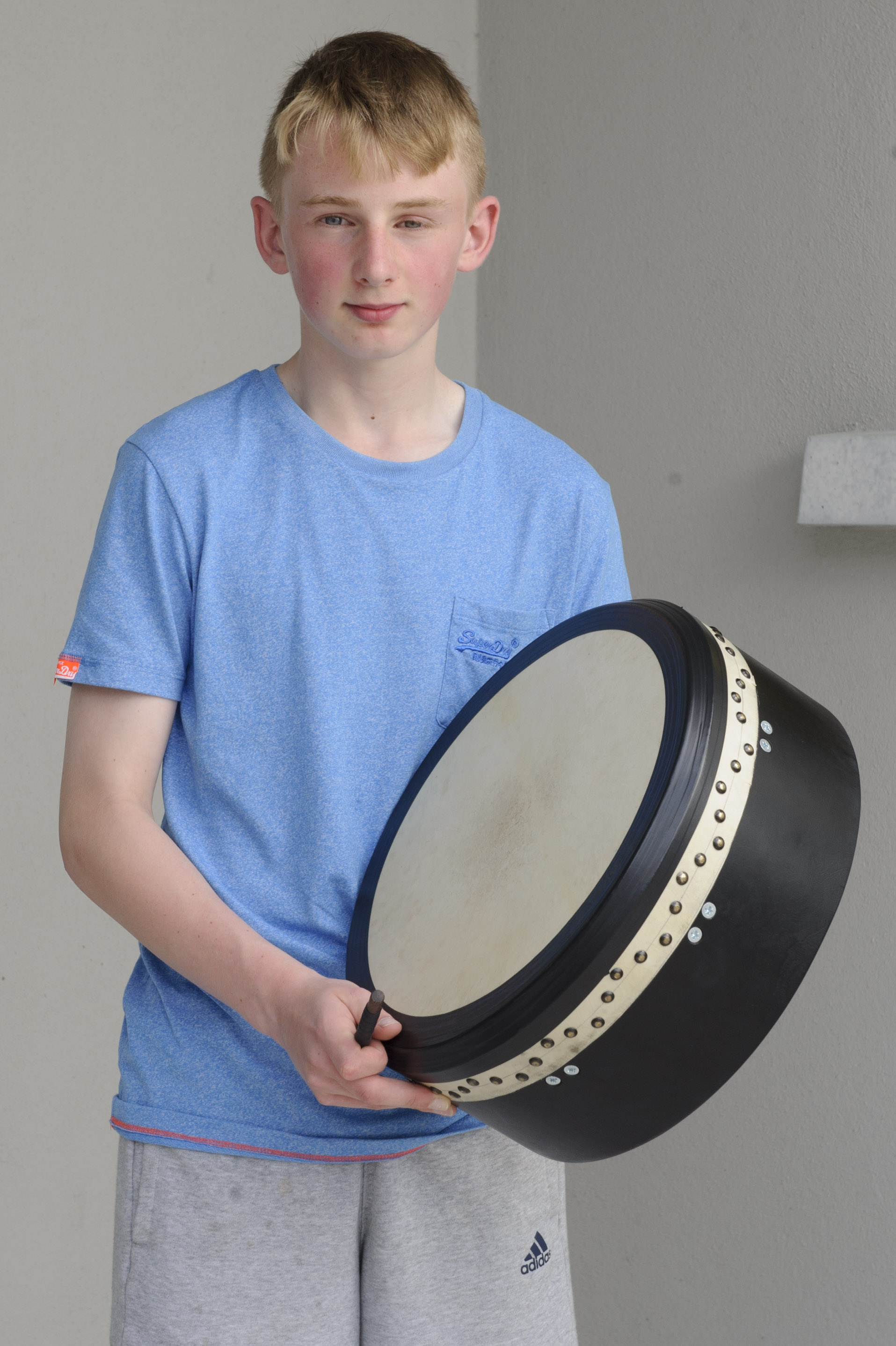 Ryan Murphy from Emyvale CCE, who was the winner of the U-154 Bodhrán competition. ©Rory Geary/The Northern Standard