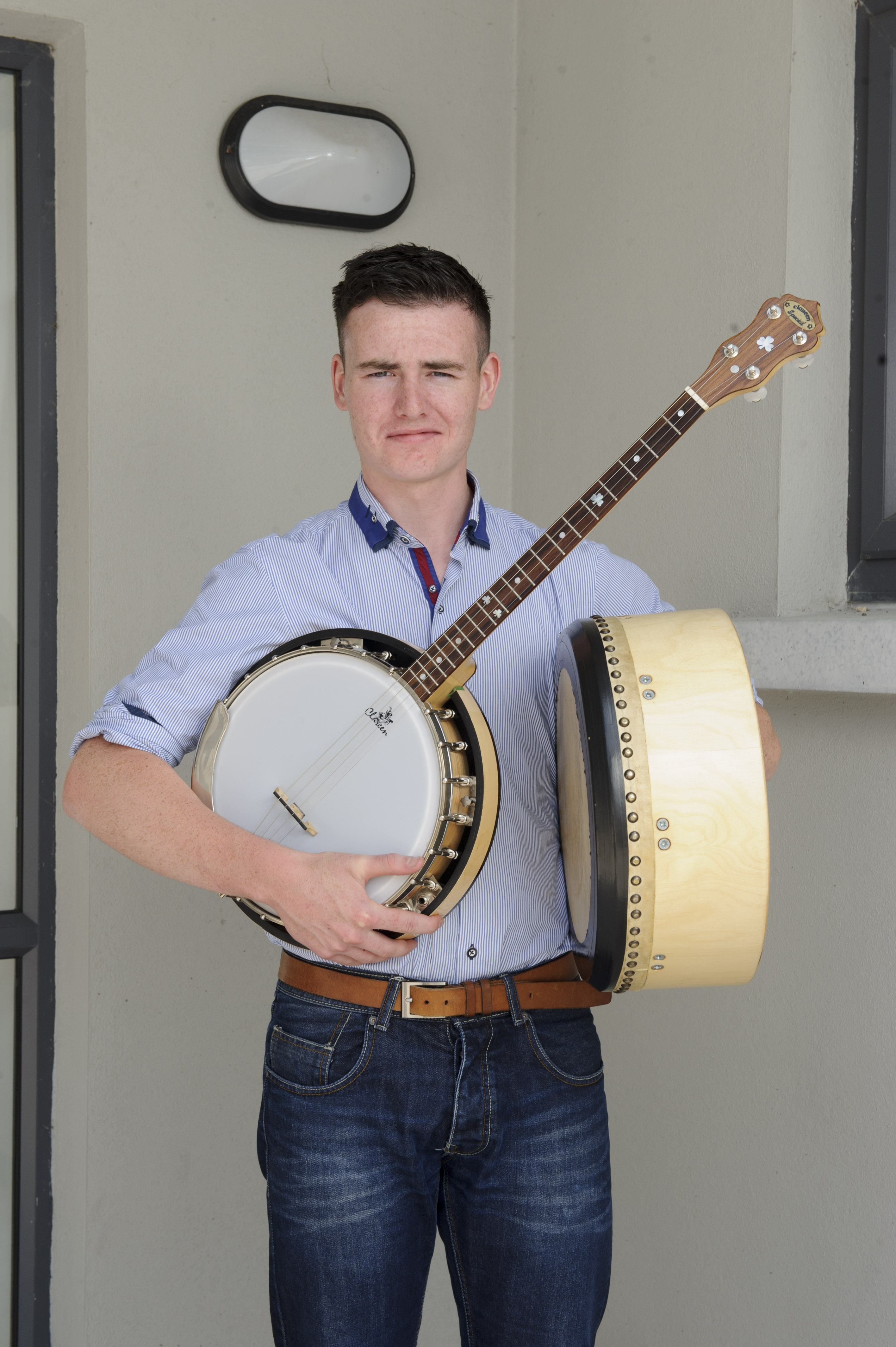 Fintan Hackett from Clogher Valley CCE, who was the winner of the U-18 Banjo and Bodhrán competitions. ©Rory Geary/The Northern Standard