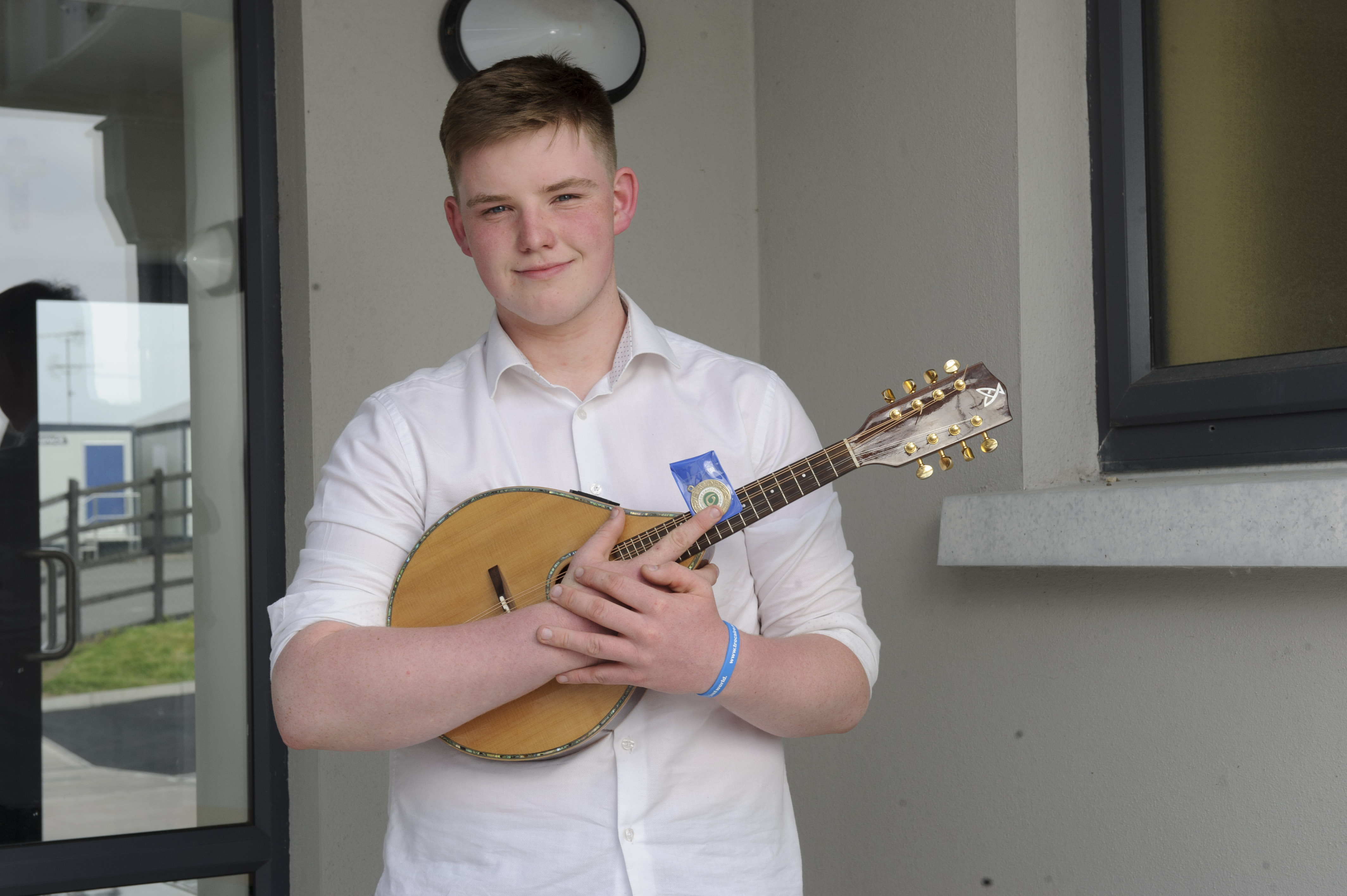 Oisin Murphy, Emyvale CCE, who was the winner of the U-18 Mandolin competition. ©Rory Geary/The Northern Standard