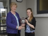 Marie Murphy, left, making the presentation of the Sinead Murphy Memorial Shield for the U-15 Piano Accordion to winner Dervla Tracey, Tullycorbet CCE. Dervla was also winner of the U-15 Piano competition. ©Rory Geary/The Northern Standard