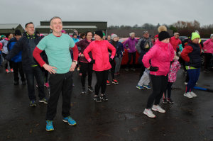 Senator Robbie Gallagher warming up for the Monaghan Operation Transformation walk, last Saturday morning. ©Rory Geary/The Northern Standard