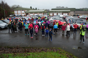 The crowd at the Monaghan Operation Transformation Walk warming up before the walk, last Saturday morning. ©Rory Geary/The Northern Standard