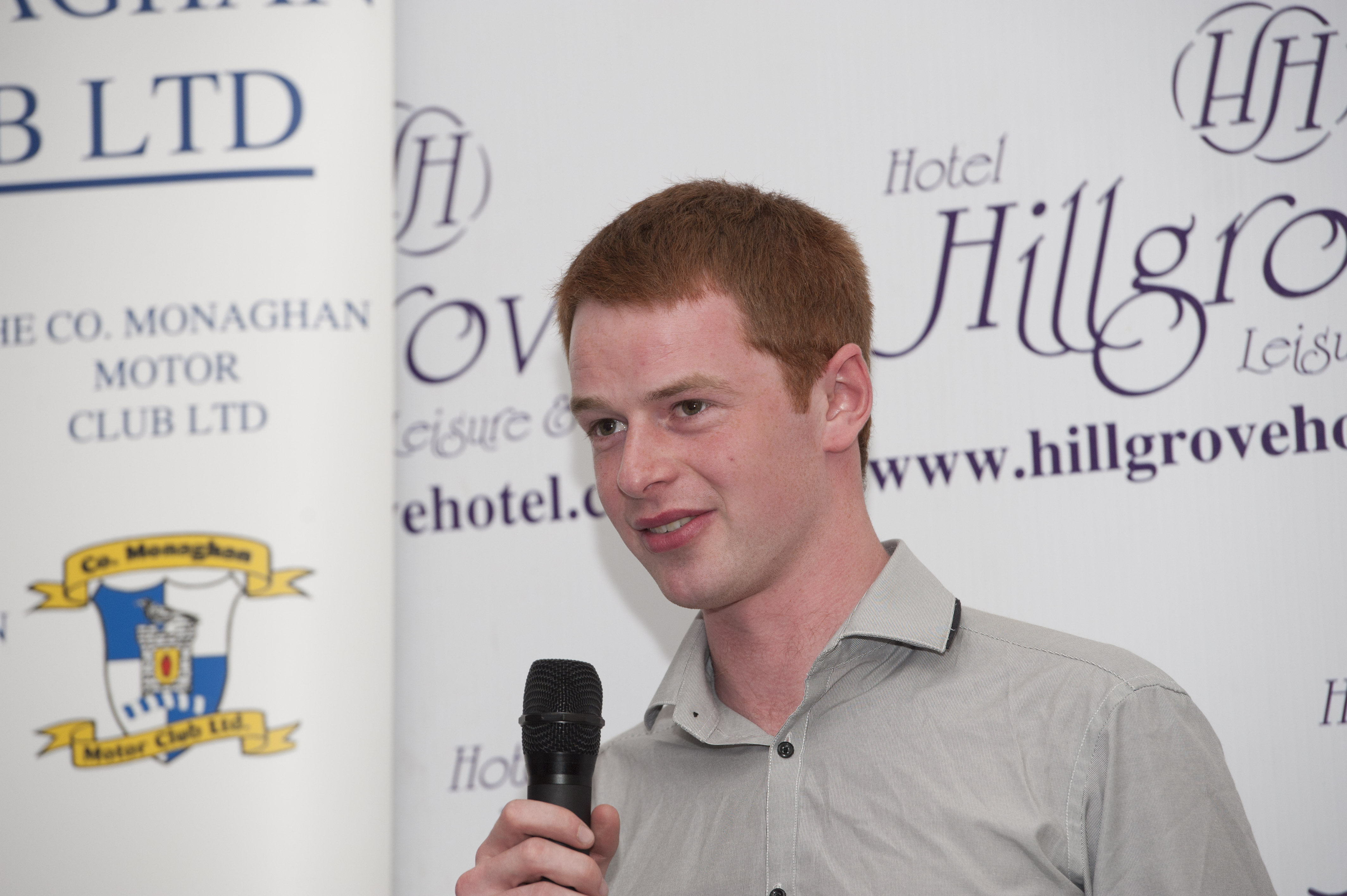 Winner of the The Hillgrove Hotel Monaghan Stages Rally 2016, Josh Moffett, speaking at the presentation function in The Hillgrove Hotel. ©Rory Geary/The Northern Standard
