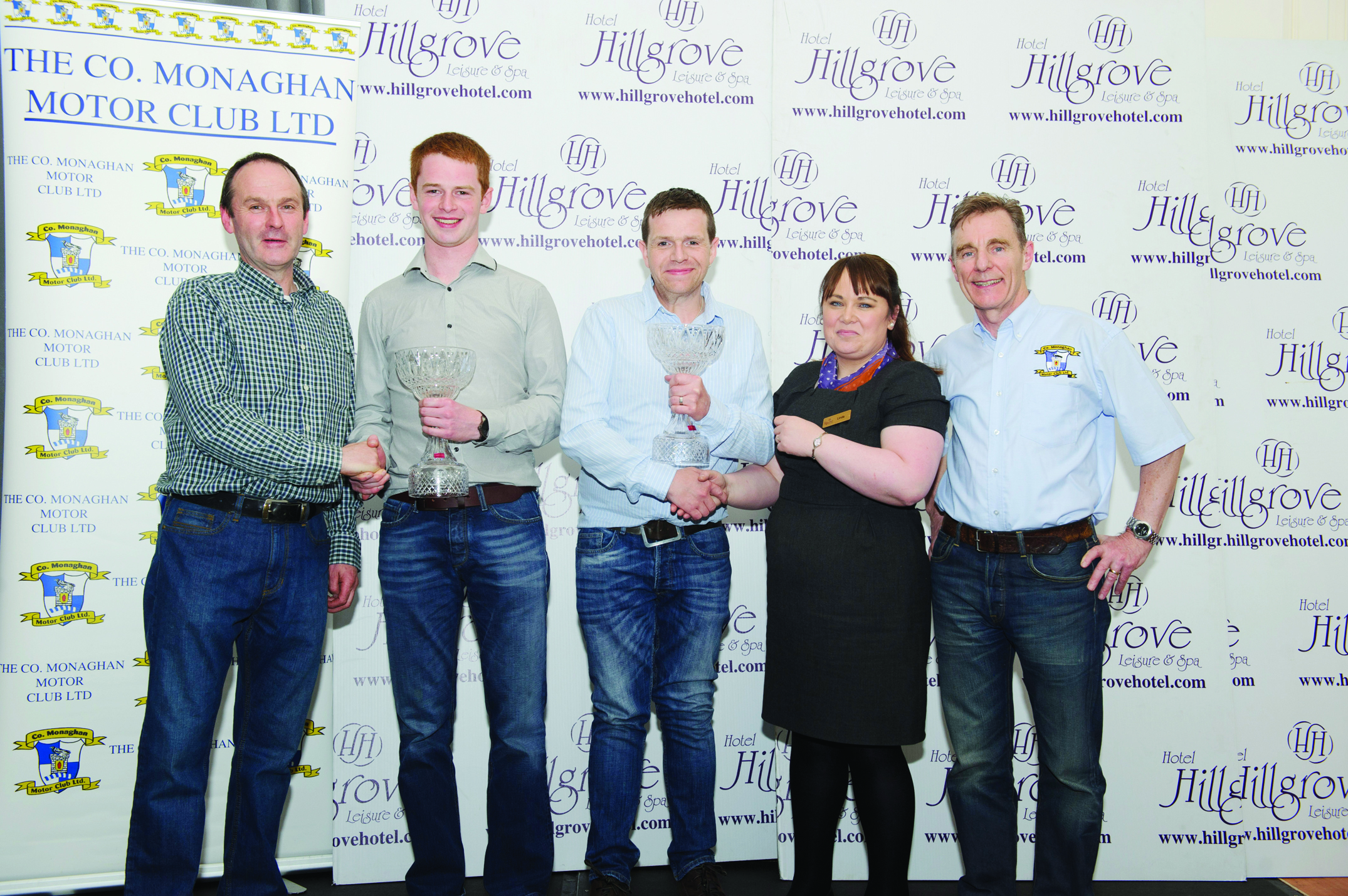 Overall winners of The Hillgrove Hotel Monaghan Stages Rally, Josh Moffett and Jason McKenna, being presented with their awards at the presentation function in The Hillgrove Hotel. Included are (L-R) Brendan Flynn, Clerk of Course, Josh Moffett, Jason McKenna, Linda Scott, The Hillgrove Hotel and Paul Hughes, chairman, Monaghan Motor Club. ©Rory Geary/The Northern Standard