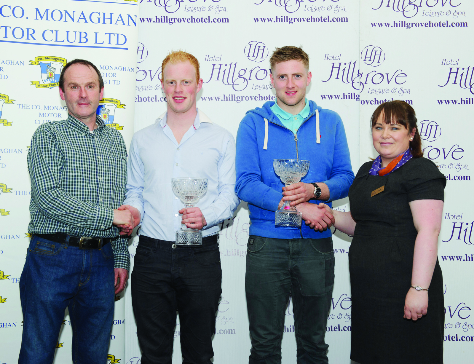 At the presentation of the awards for Overall Runner-up in the The Hillgrove Hotel Monaghan Stages Rally 2016 were (L-R) Brendan Flynn, Clerk of the Course, Sam Moffett, James Fulton and Linda Scott, The Hillgrove Hotel.