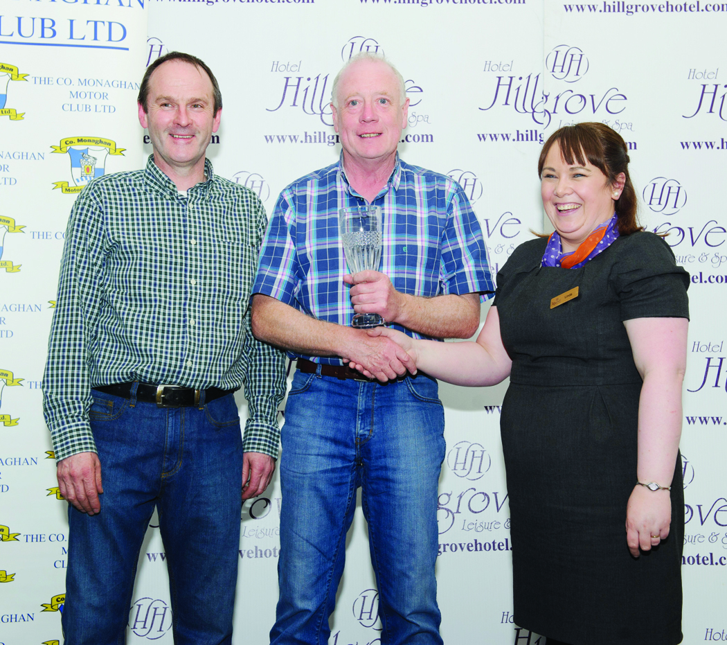 Niall Maguire, centre, is presented by Linda Scott, with his award for 3rd Overall in the The Hillgrove Hotel Monaghan Stages Rally 2016. Also in photo is Brendan Flynn, Clerk Of the Course. Missing from photo is Enda Sherry. ©Rory Geary/The Northern Standard