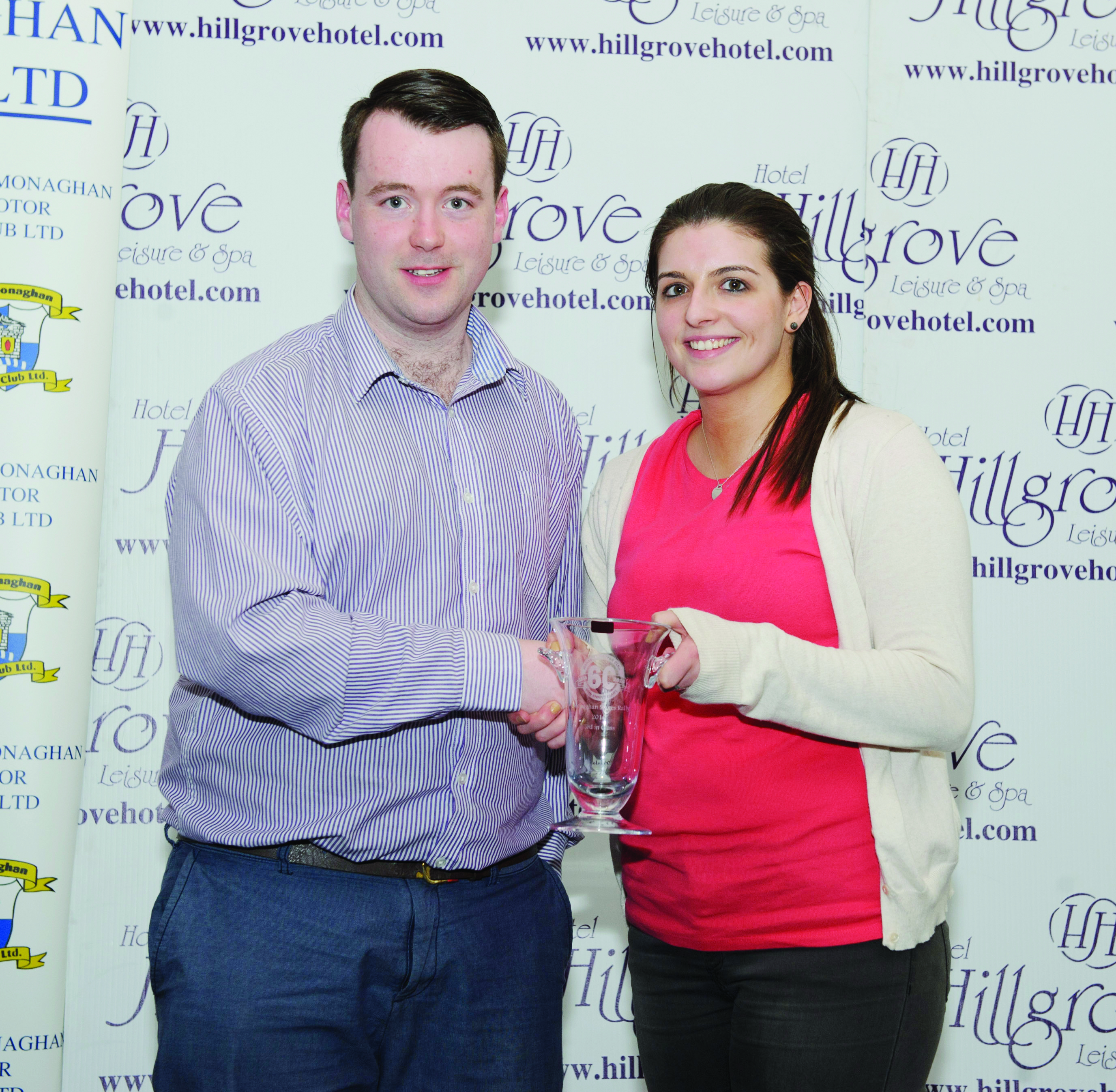 Brenda Flynn making a presentation to Fintan Clerkin, one of the stage commanders for the The Hillgrove Hotel Monaghan Stages Rally 2016.