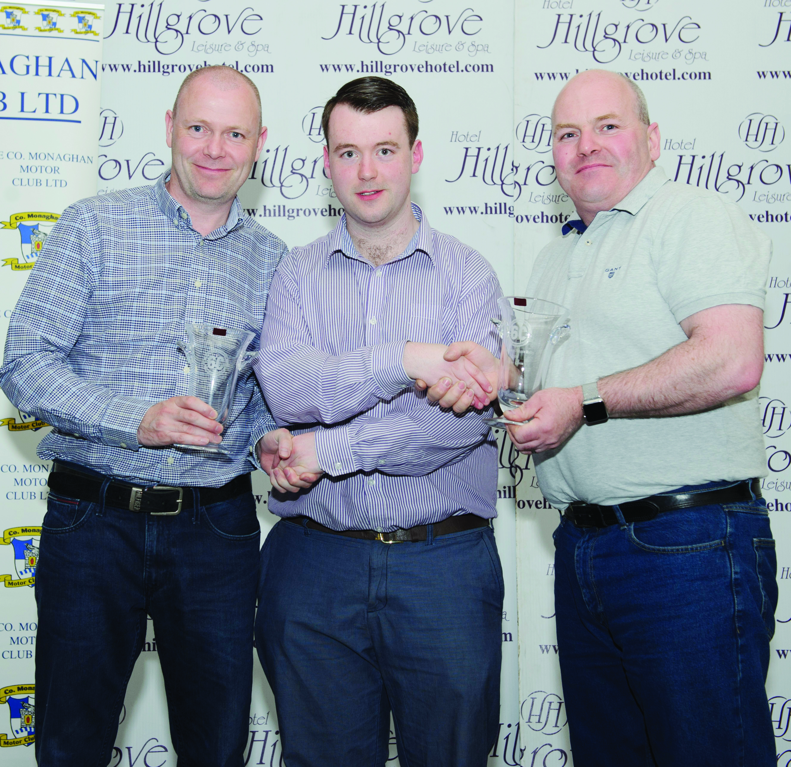 Fintan Clerkin, centre, making the presentation of the awards for the 3rd in Class 20 to Colin Quirk, left and Chris Caley. ©Rory Geary/The Northern Standard