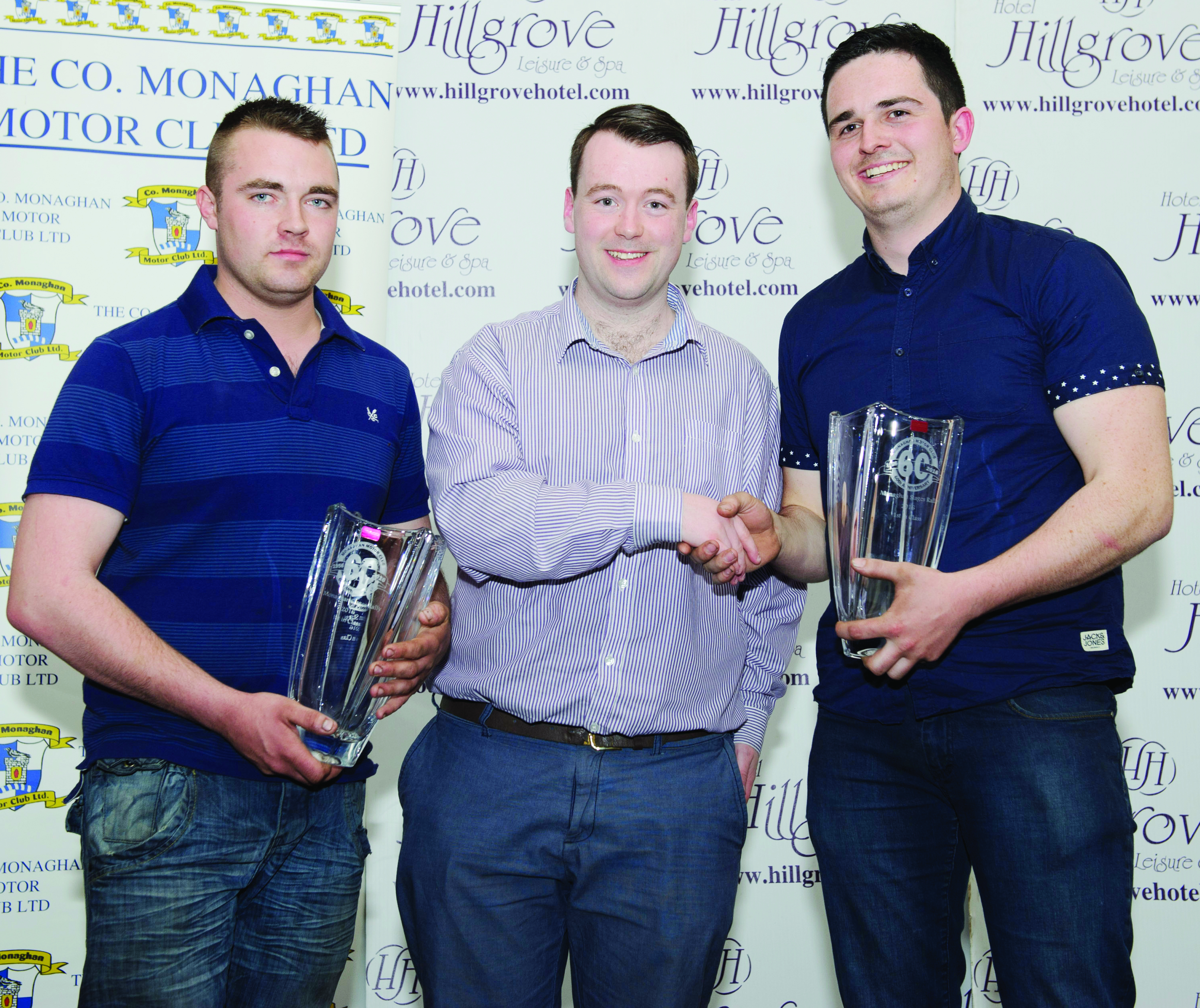 Fintan Clerkin, centre, making the presentation of the awards to winners of the Junior Class, Darren O'Brien, left and Damien Fleming. ©Rory Geary/The Northern Standard