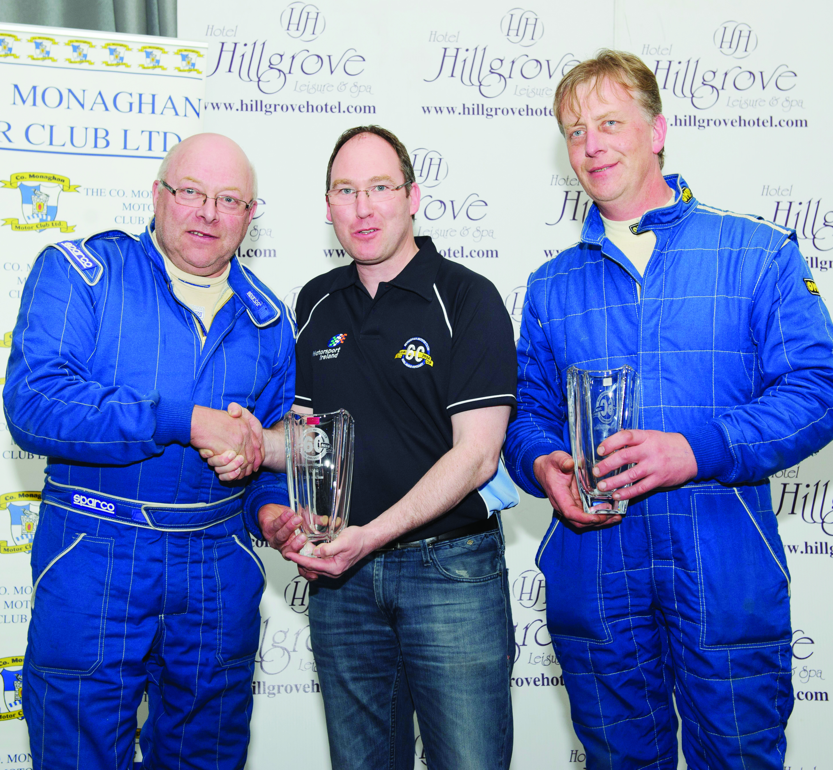 Conor Maguire, centre, making the presentation for 2nd in Class 15 to James McGreal and Chris Mitchell. ©Rory Geary/The Northern Standard