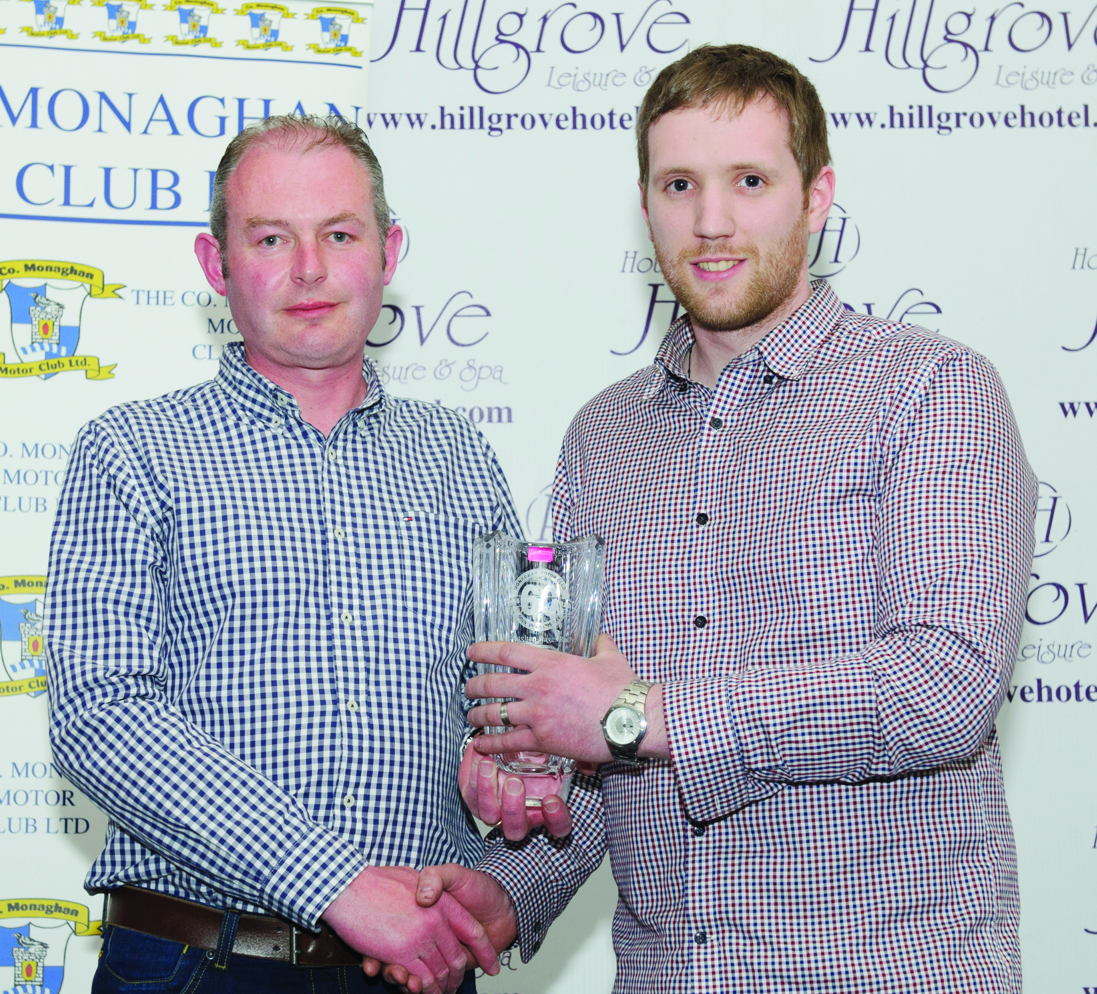 Diarmuid Leane, left, making the presentation to Colm Connolly for 2nd in Class 11R. Missing from photo is Barry Treanor. ©Rory Geary/The Northern Standard
