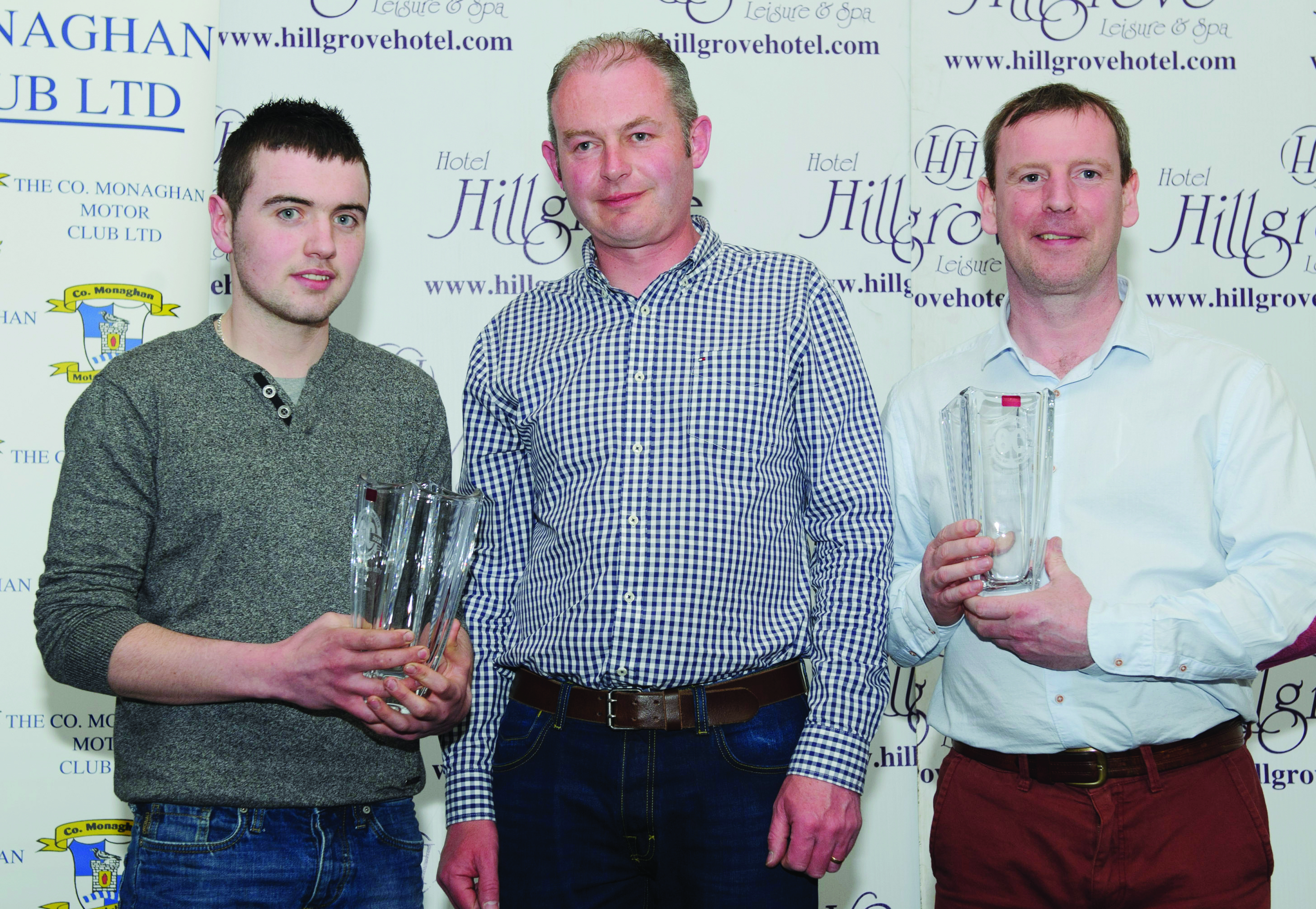 Gary Cassidy, left and Paul Kelly, right, are presented with their awards for 2nd in Class 11F by Dairmuid Leane. ©Rory Geary/The Northern Standard