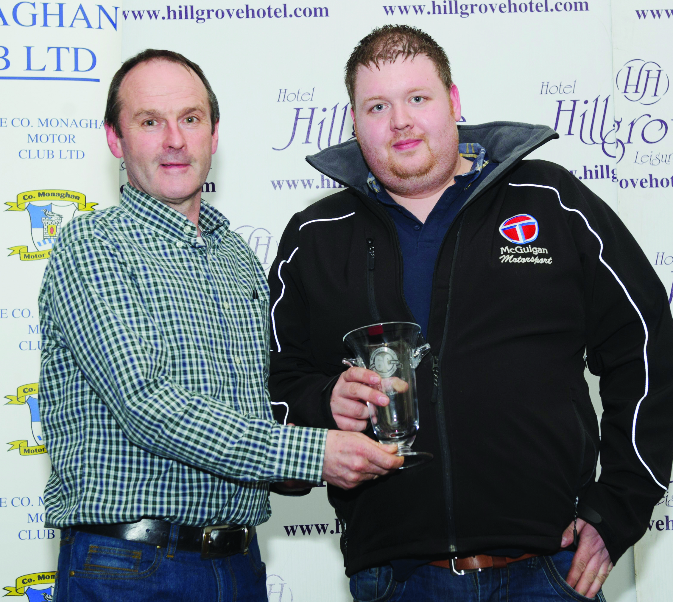 Brendan Flynn, left, presenting Martin McGuigan, with his awards for 3rd in Class 10. Missing from photo is Sam Clarke. ©Rory Geary/The Northern Standard