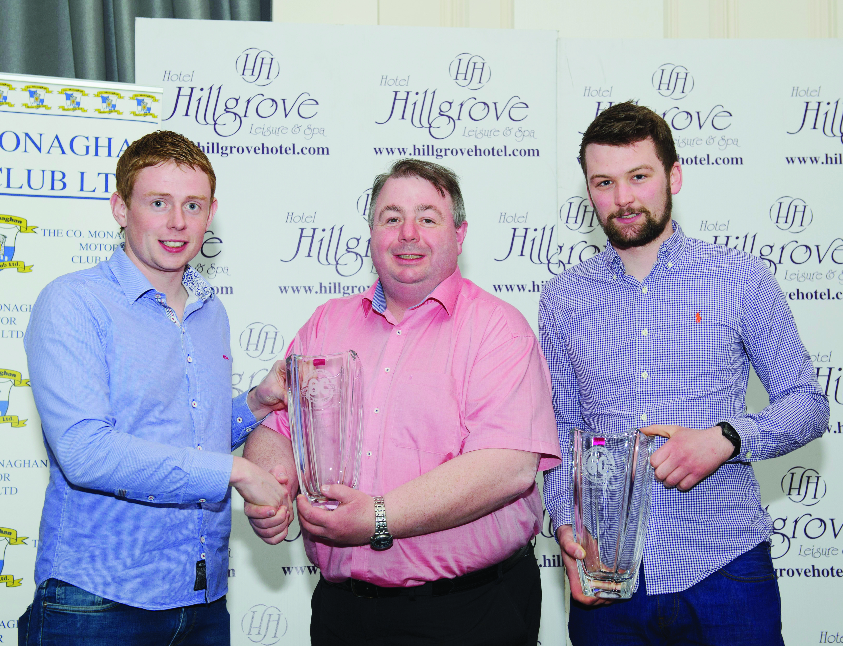Fintan Keenan, centre, presenting the winners of Class 5, Stephen Wright, left and Fintan Sherry, with their awards. ©Rory Geary/The Northern Standard