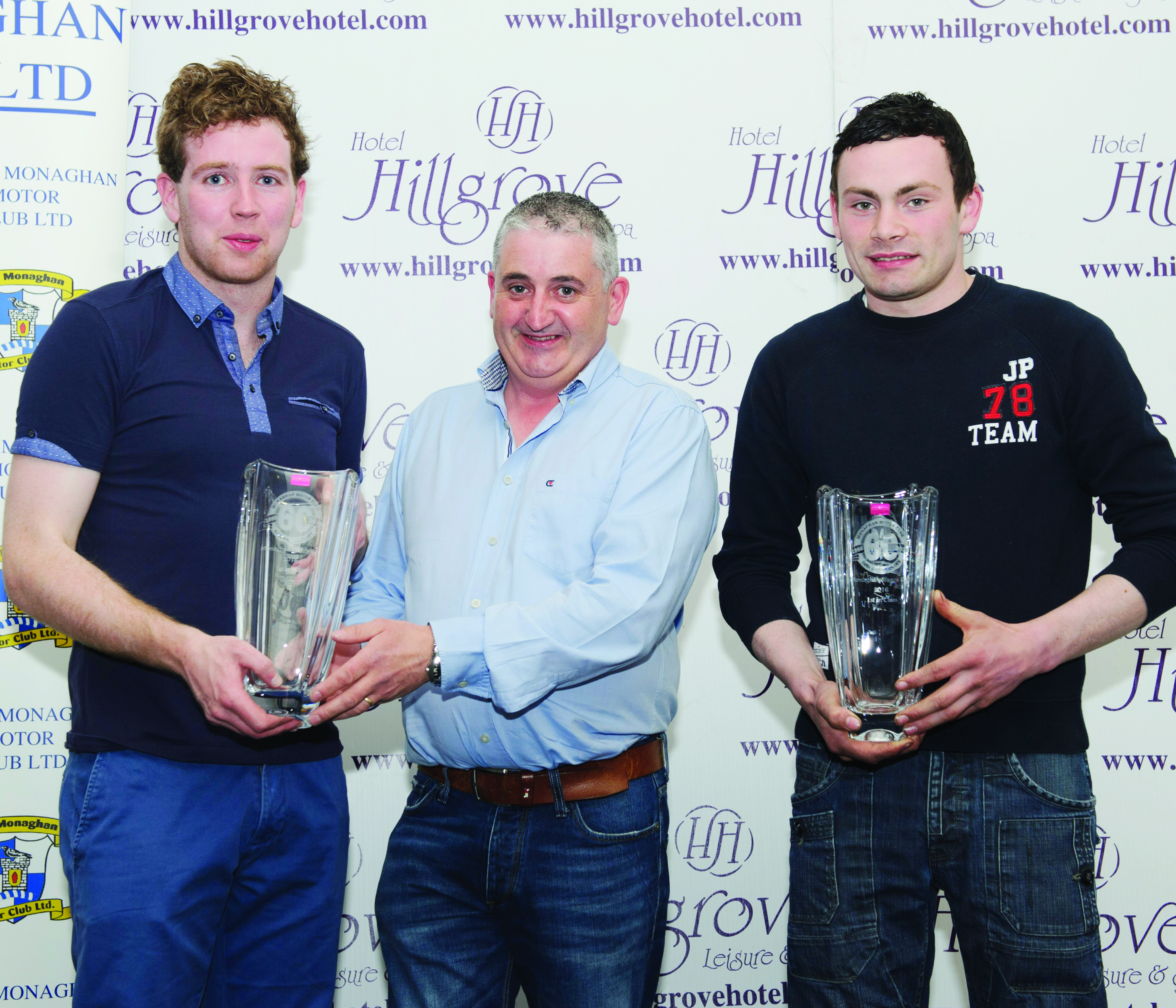 Winners of Class 4, Shane Maguire, left and Mac Kierans, receiving their awards from Thomas Treanor, centre. ©Rory Geary/The Northern Standard
