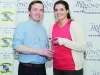 Brenda Flynn making a presentation to Gary Farrelly, one of the stage commanders for the The Hillgrove Hotel Monaghan Stages Rally 2016.