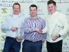 Fintan Clerkin, centre, making the presentation of the awards for winning Class 20 to Michael Carbin, left and Darragh Kelly. ©Rory Geary/The Northern Standard