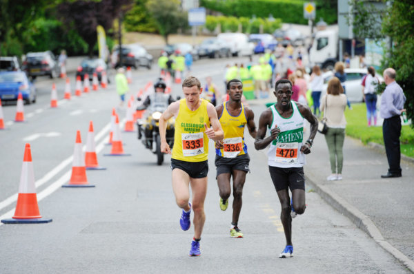 The leading group in the Monaghan 10 Miler during the race, (L-R) Conor Duffy, Glaslough Harriers, Eskander Turki, Monaghan Town Runners and Freddie Keron Sittuk, Raheny AC. ©Rory Geary/The Northern Standard