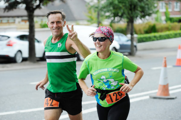Lesley Crawford and his sister Lorna taking part in the Monaghan 10 Miler. ©Rory Geary/The Northern Standard